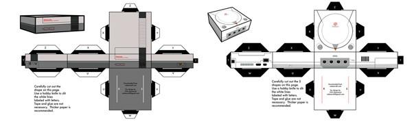 papercraft nes y dreamcast