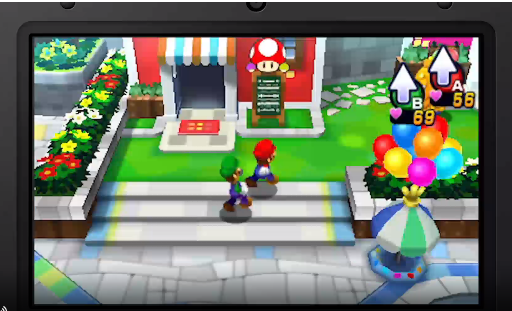 Mario-Luigi-Dream-Team_Delante-de-la-tienda